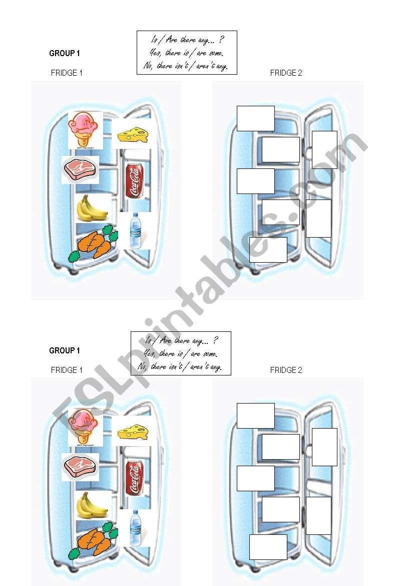 fridge n°1 group work vocab food + some / any