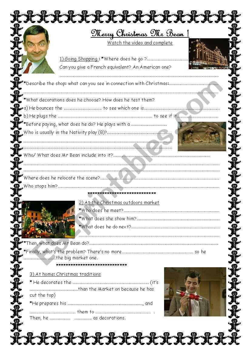 Mr Bean Christmas.Merry Christmas Mr Bean Esl Worksheet By Froggie