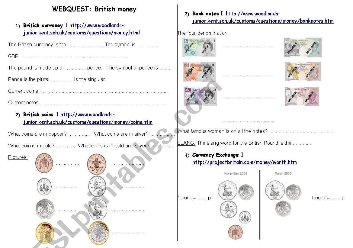 British money webquest worksheet