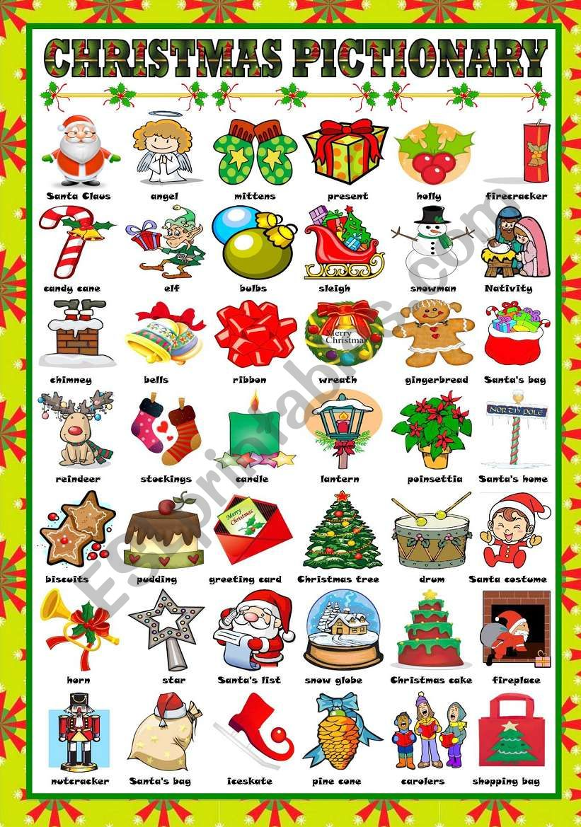CHRISTMAS PICTIONARY , ESL worksheet by Katiana