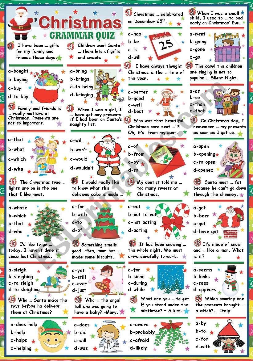 CHRISTMAS GRAMMAR QUIZ (KEY INCLUDED)