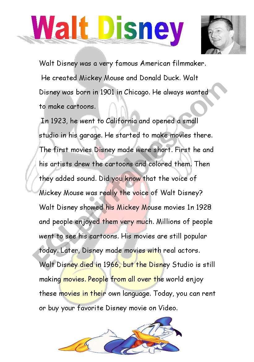 Walt Disney worksheet
