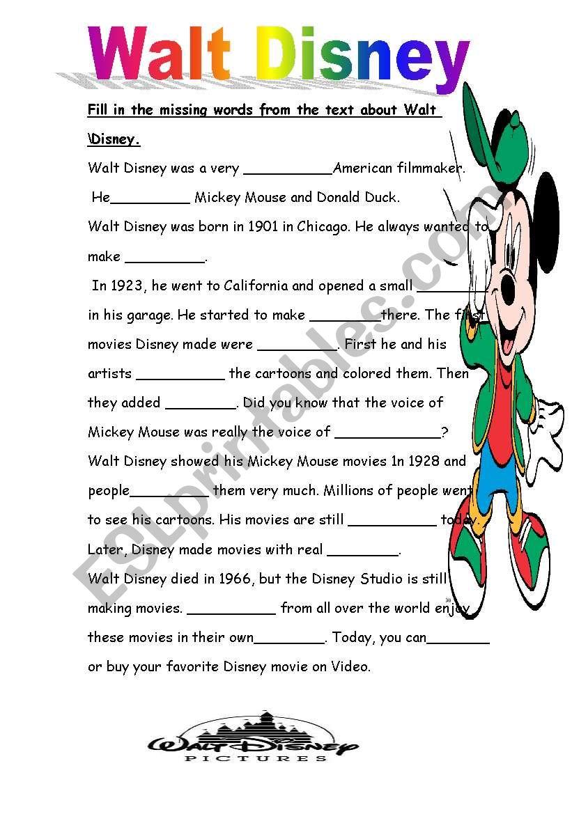 Walt Disney Part 2 Esl Worksheet By Orlyar1