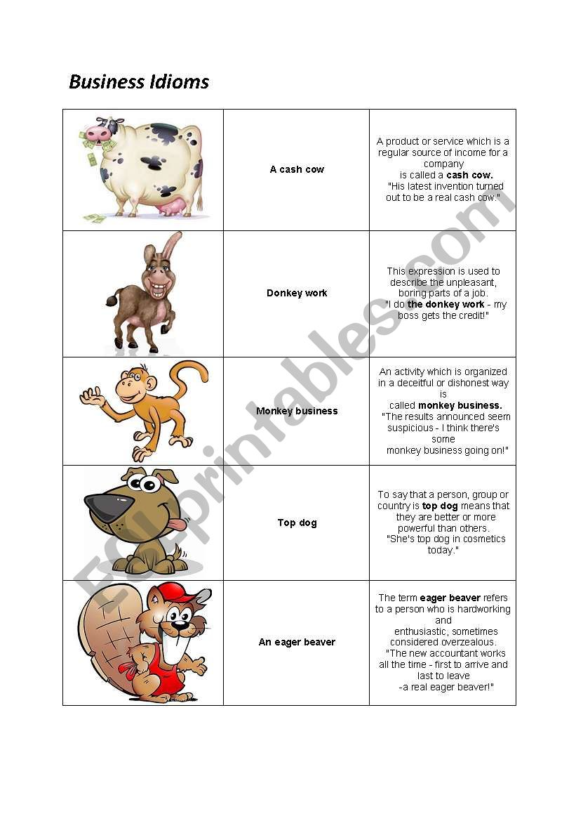 Business Idioms Esl Worksheet By Smolonova