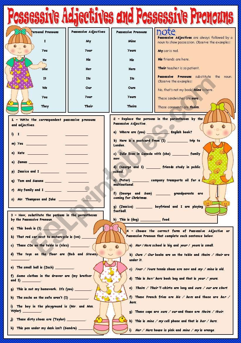 POSSESSIVE ADJECTIVES AND POSSESSIVE PRONOUNS - (GREYSCALE - INCLUDED)
