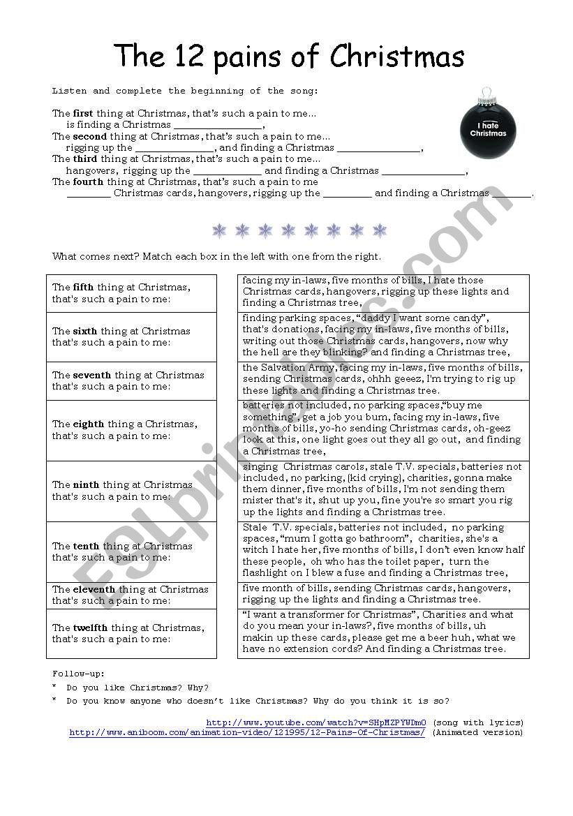 The Twelve Pains Of Christmas.12 Pains Of Christmas Esl Worksheet By Arcumo