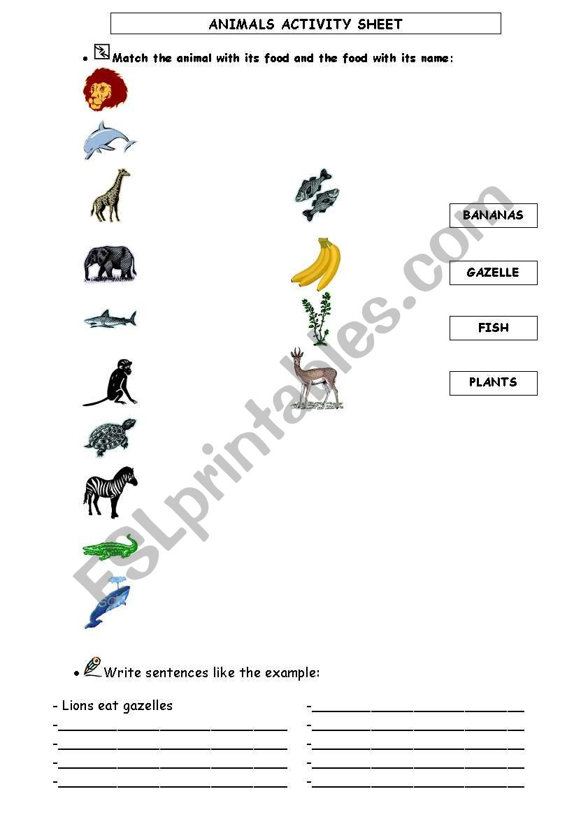 WILD ANIMALS AND THEIR FOOD worksheet
