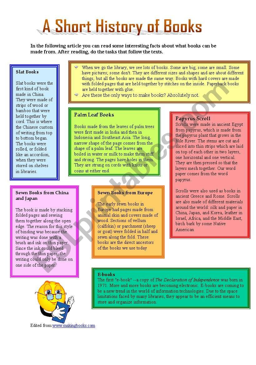 A Short History of Books worksheet