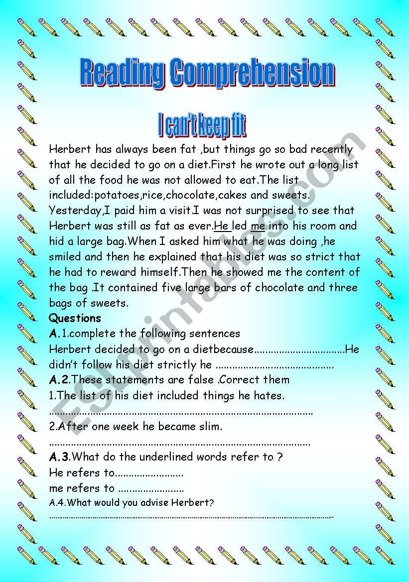I can´t keep fit worksheet
