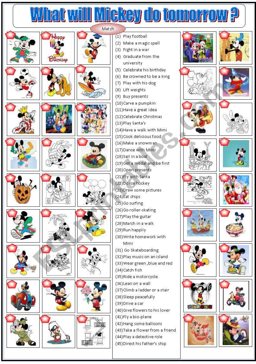 What will Mickey do tomorrow? worksheet