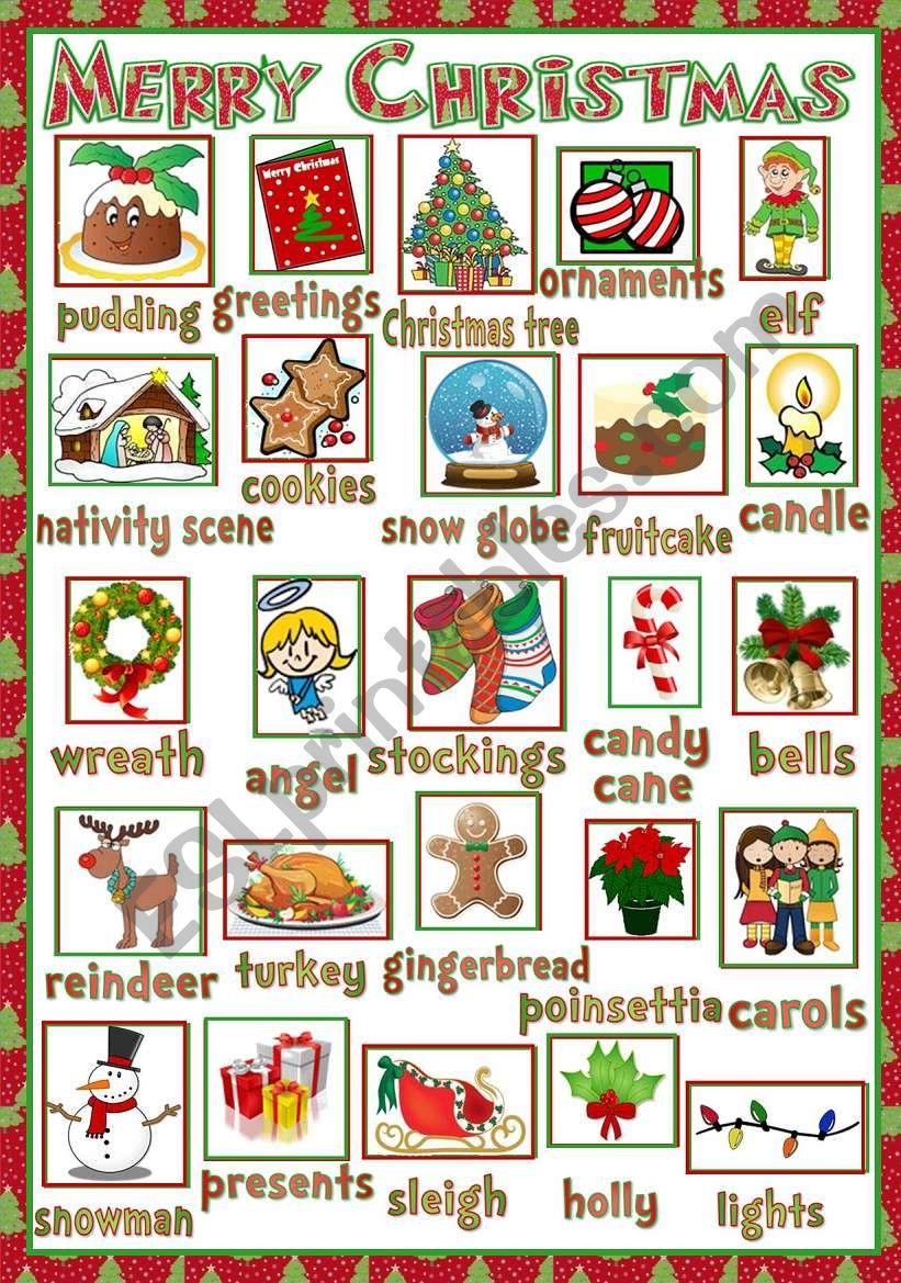 Christmas - pictionary worksheet