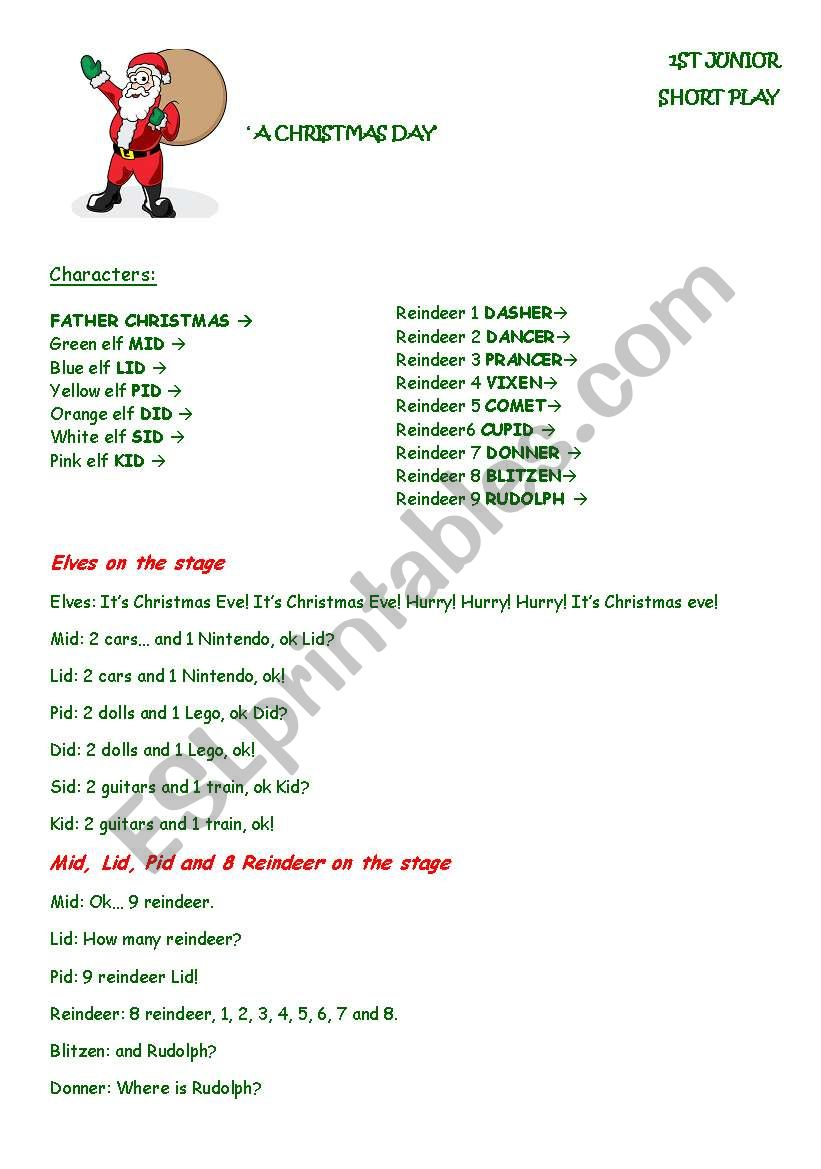 Short Christmas Play.Christmas Short Play Song For Kids Esl Worksheet By Jane