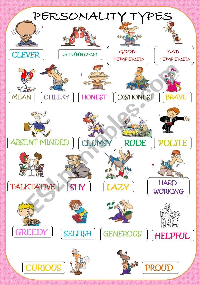 PERSONALITY ADJECTIVES PICTIONARY Reuploaded with royalty free pictures