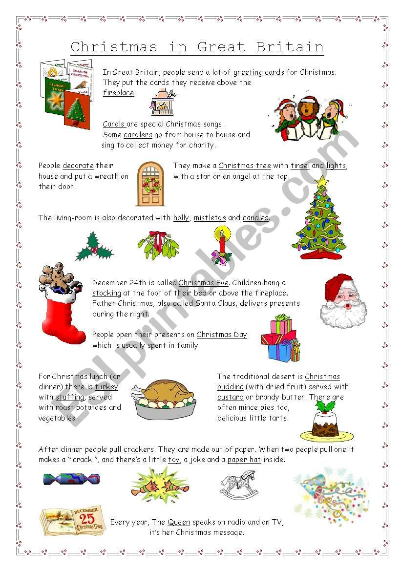 Christmas in Great Britain worksheet