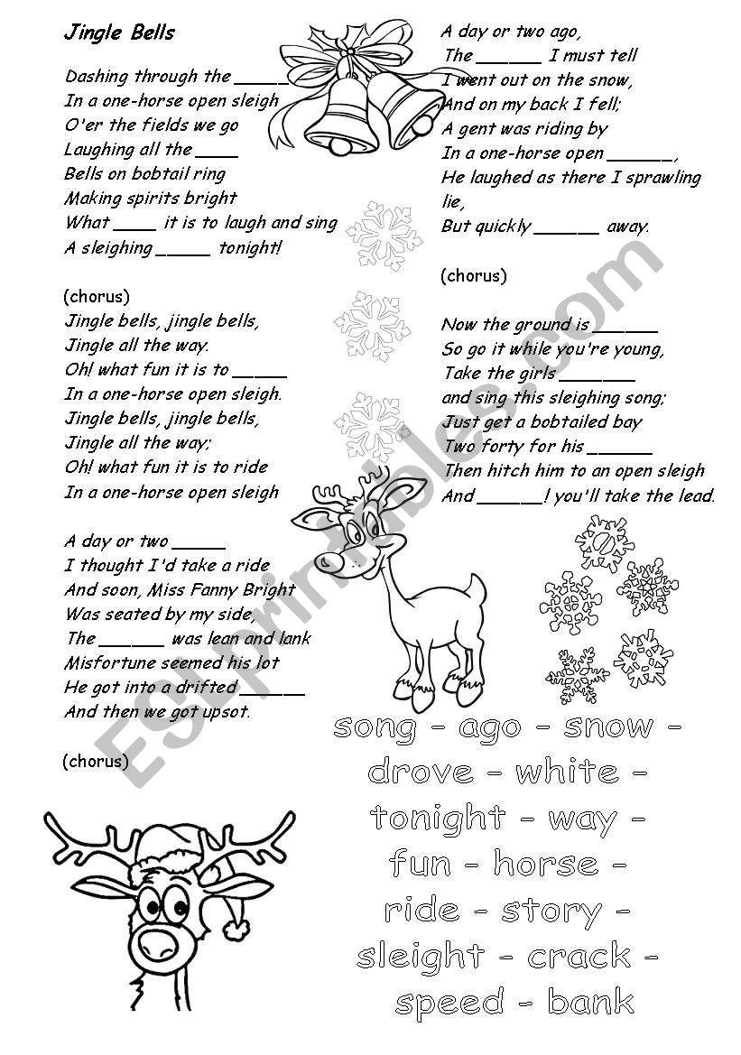 Jingle Bells Song worksheet
