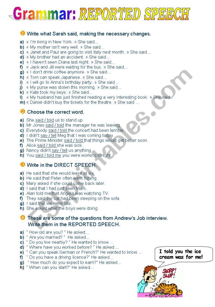 Reported Speech exercises worksheet
