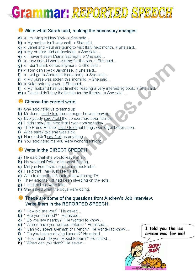 Reported Speech exercises worksheet