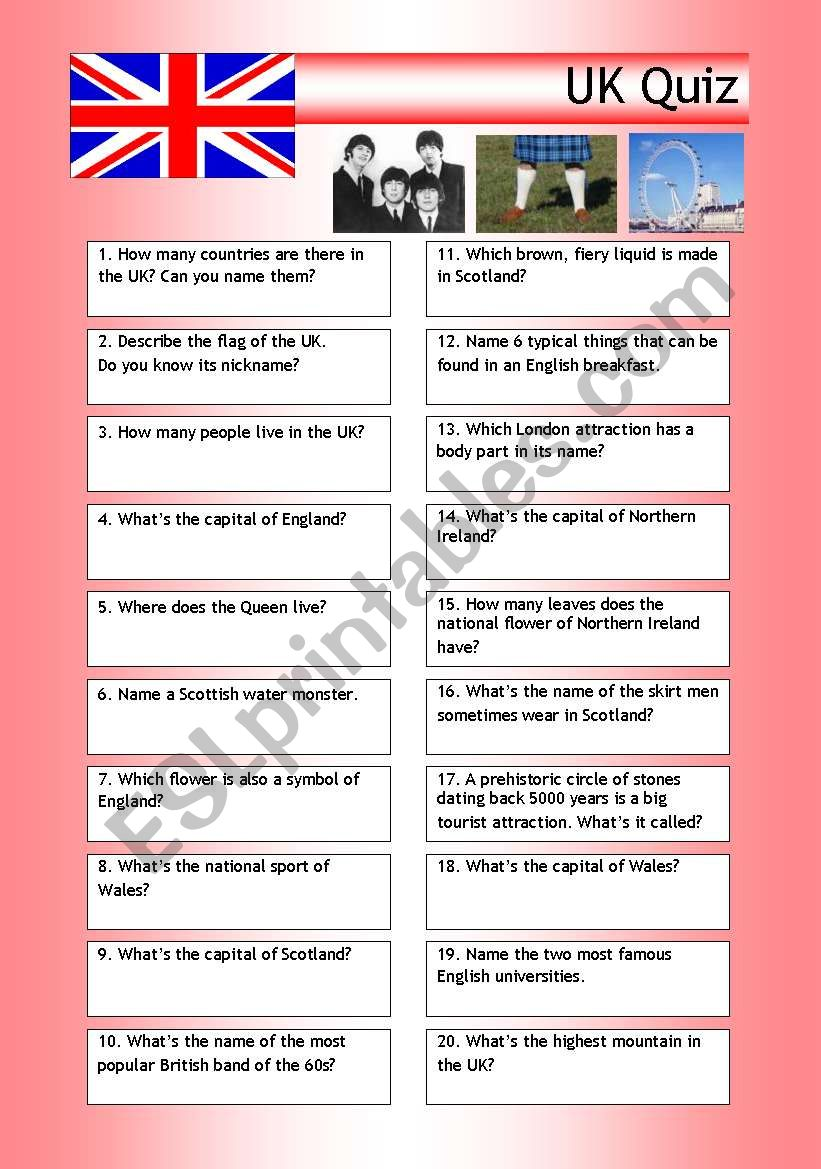 Quiz - UK Trivia worksheet