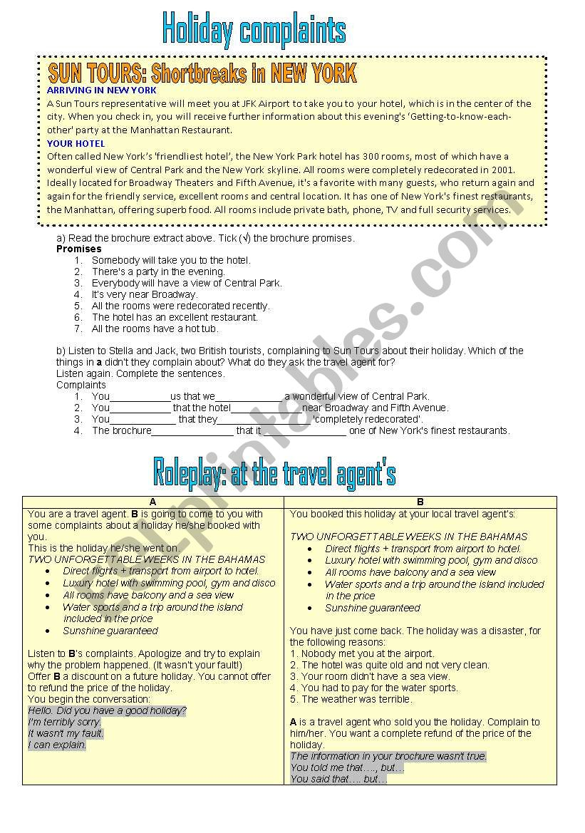 Holiday complaints worksheet
