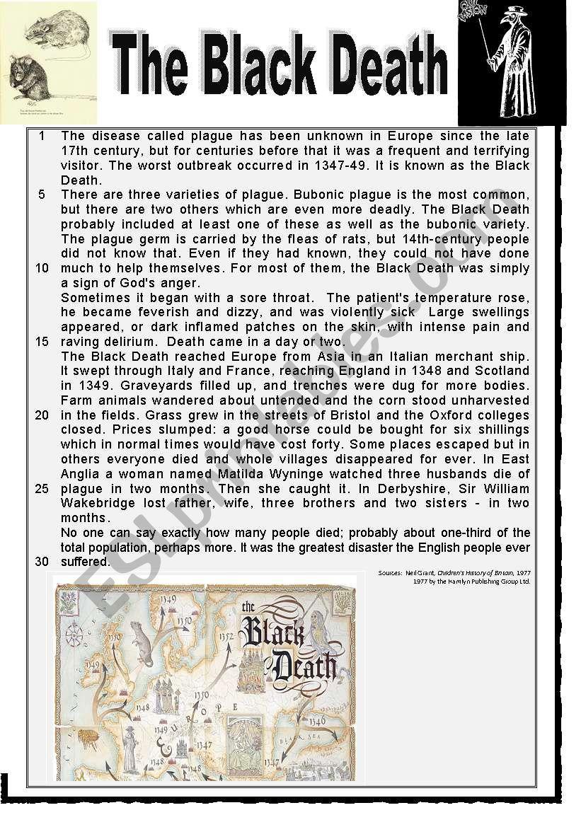 The Black Death Esl Worksheet By Karagozian