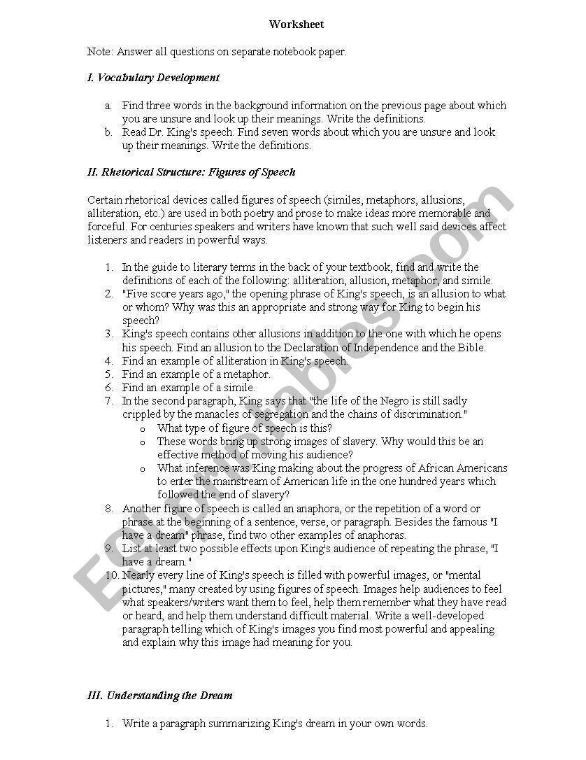 I Have A Dream Worksheet Esl Worksheet By Nmagee