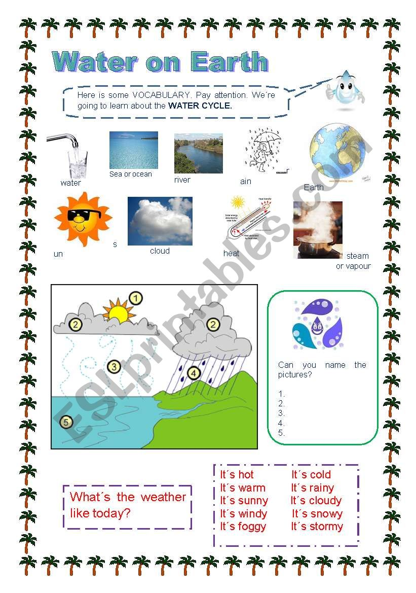 water on earth worksheet kidz activities. Black Bedroom Furniture Sets. Home Design Ideas