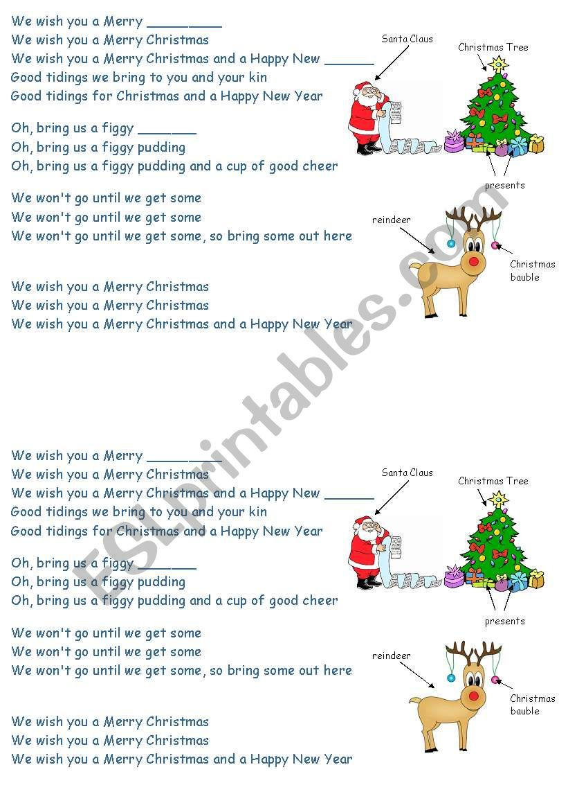 we wish you a merry christmas song - ESL worksheet by madimka