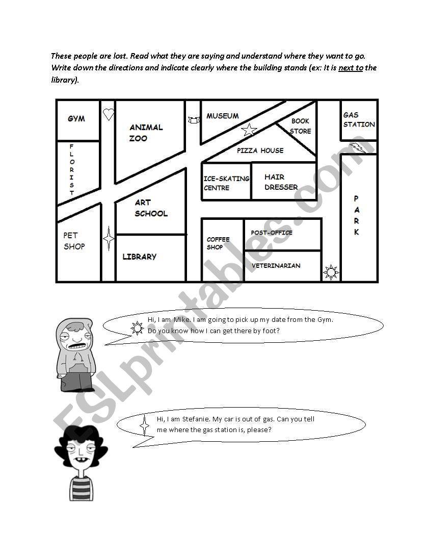 giving directions exercise esl worksheet by deveci. Black Bedroom Furniture Sets. Home Design Ideas