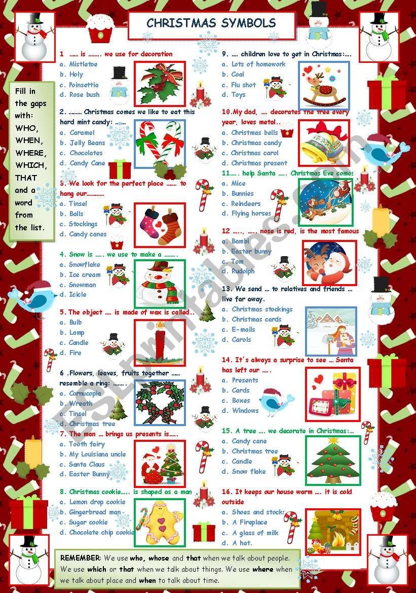 Christmas words Quiz II - ESL worksheet