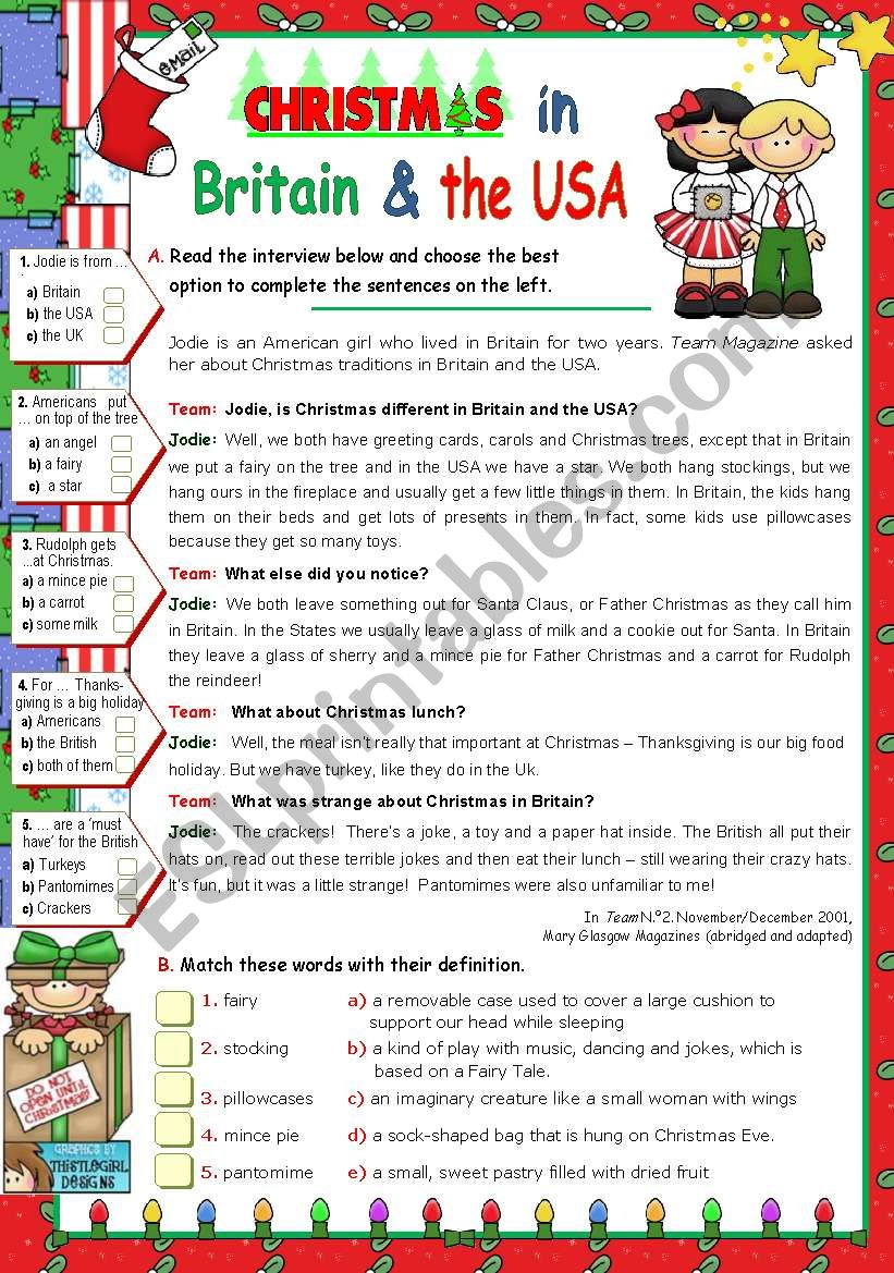 Christmas in  Britain  and  in  the  USA