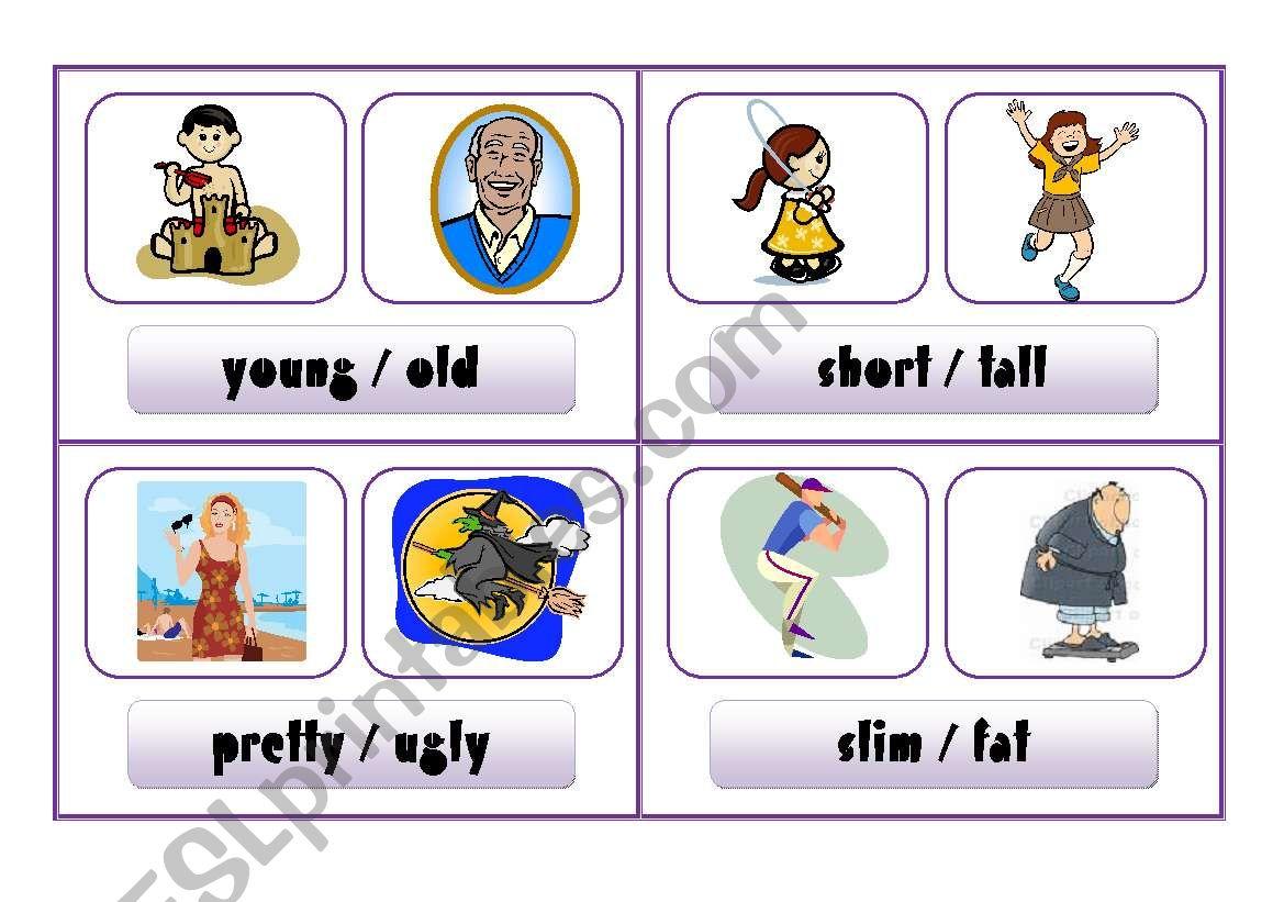 COMPARISON CARDS - describing people (part 5)
