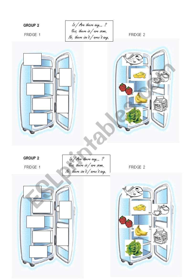 fridge n°2 group work vocab food + some / any