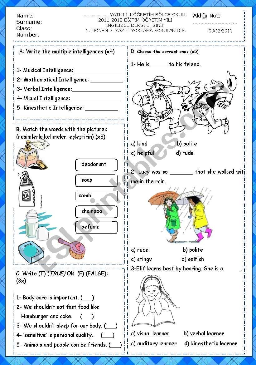 8th grade 1st term 2nd exam  worksheet