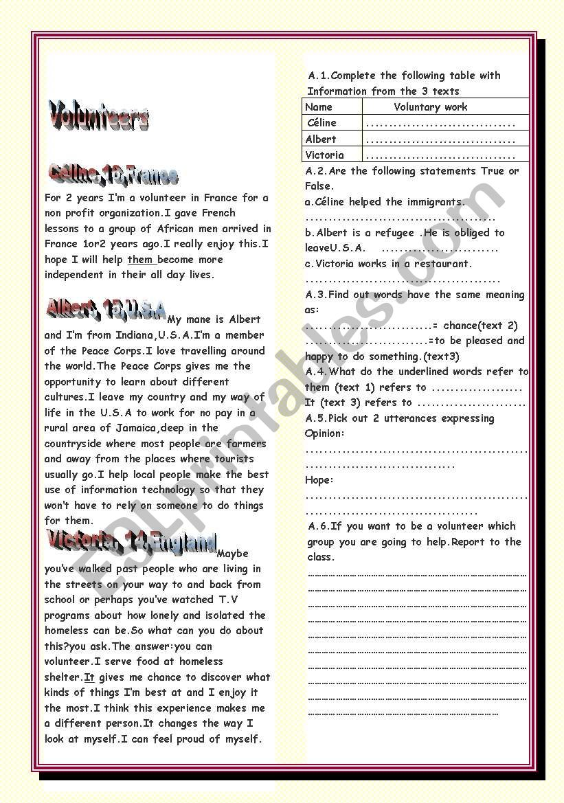 Volunteers worksheet
