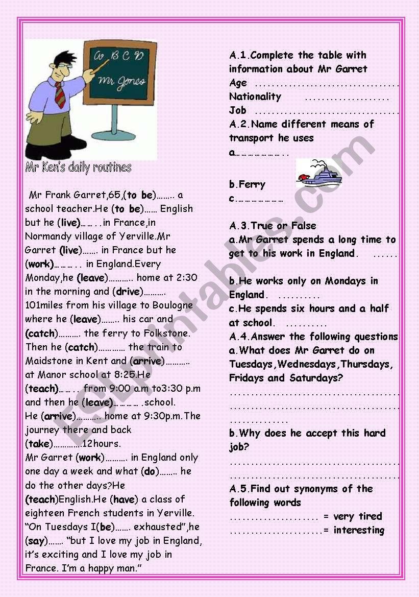 Mr ken´s daily routines worksheet