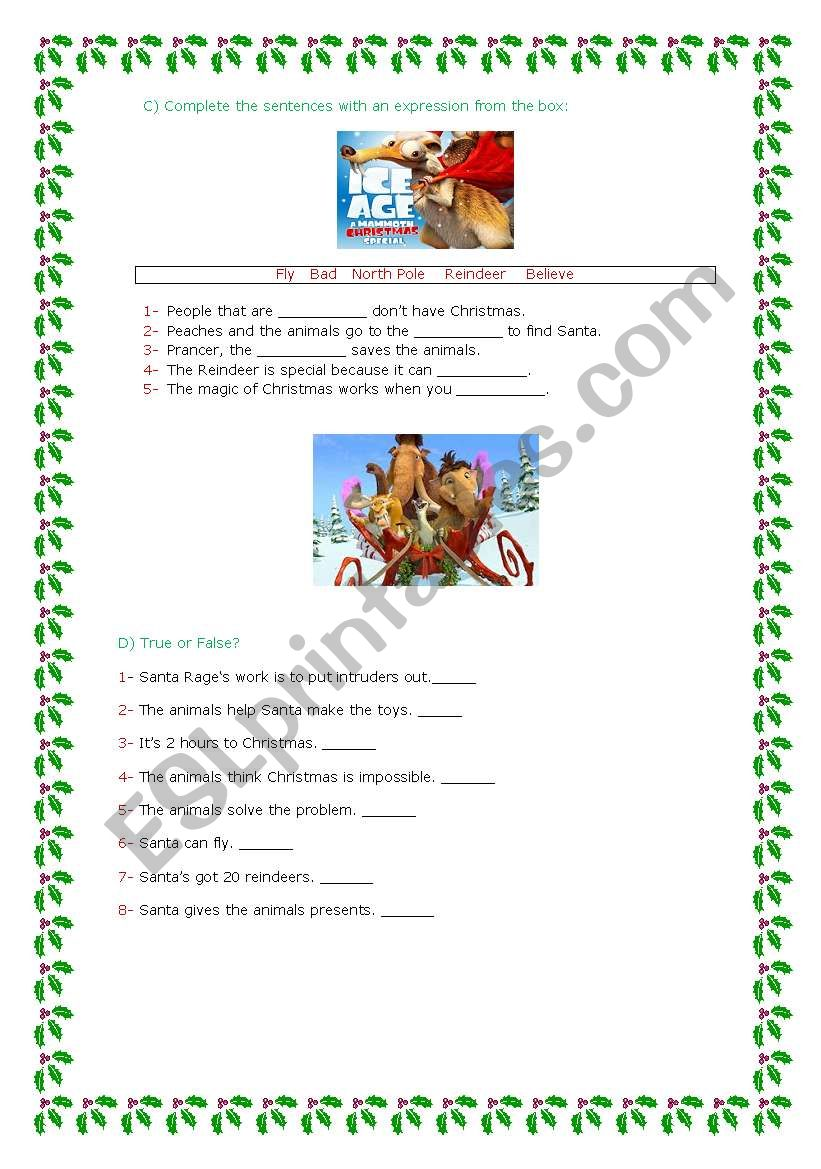 Ice age: a Mammoth Christmas part 2 - ESL worksheet by marta veiga