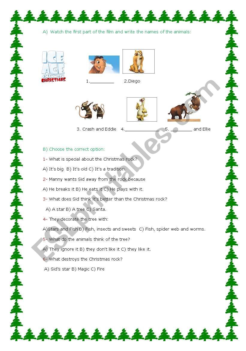 Ice Age: a Mammoth Christmas part 1 - ESL worksheet by marta veiga