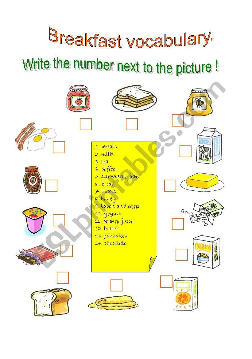 Breakfast vocabulary worksheet