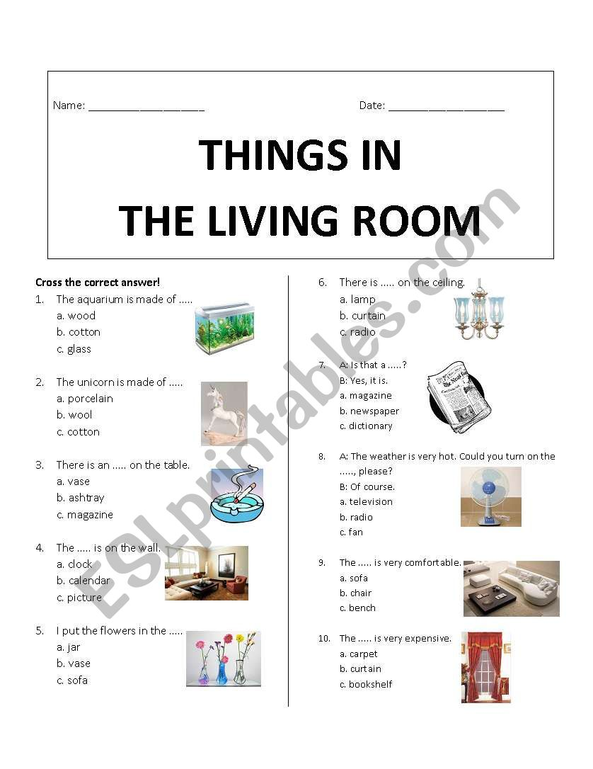 Things In Living Room Worksheet