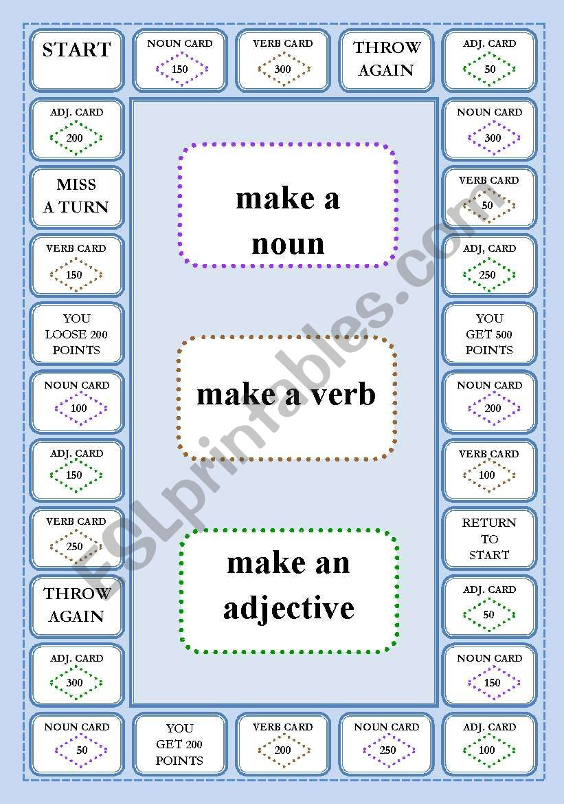 WORD FORMATION - A BOARD GAME worksheet