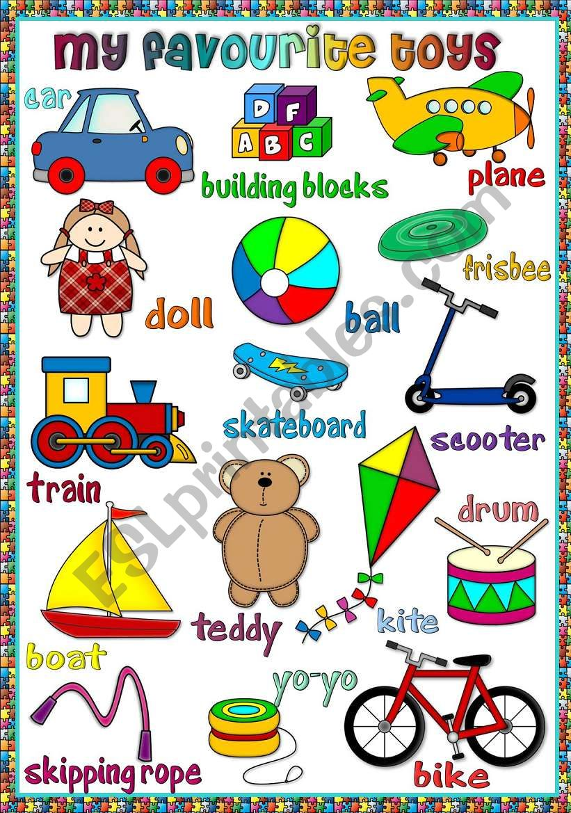 My favourite toys - poster worksheet