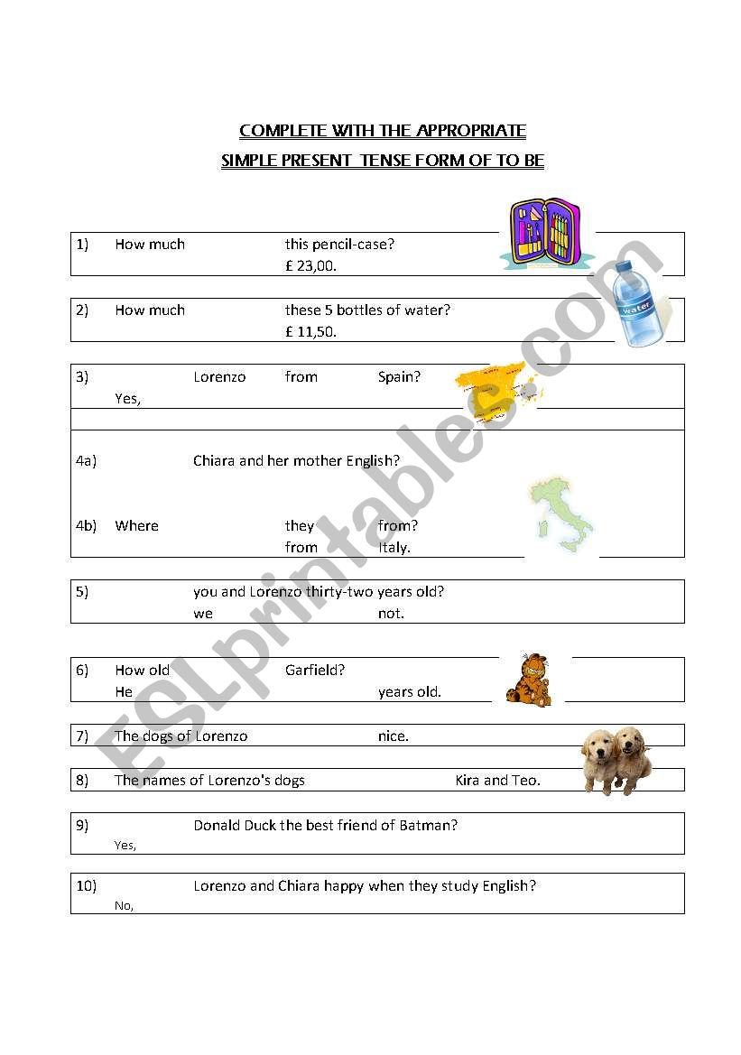 TO BE SIMPLE PRESENT worksheet