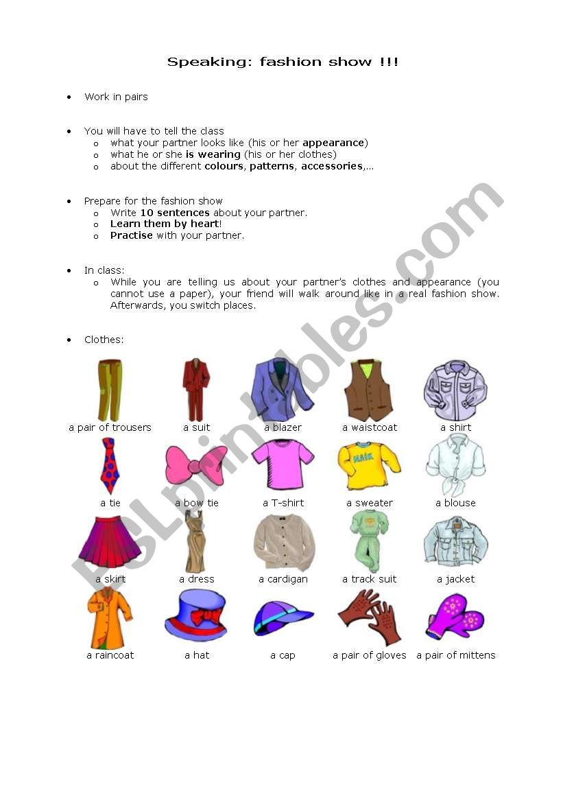 Fashion show part 1 of 3 worksheet