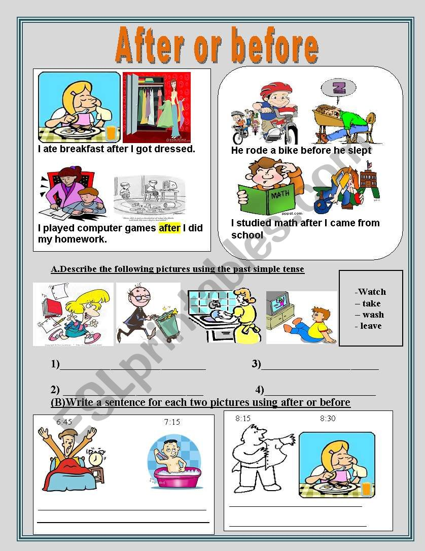 After or before worksheet
