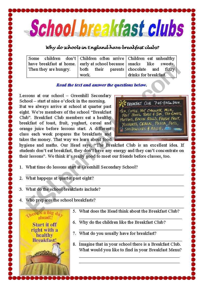 Reading comprehension - School Breakfast Club