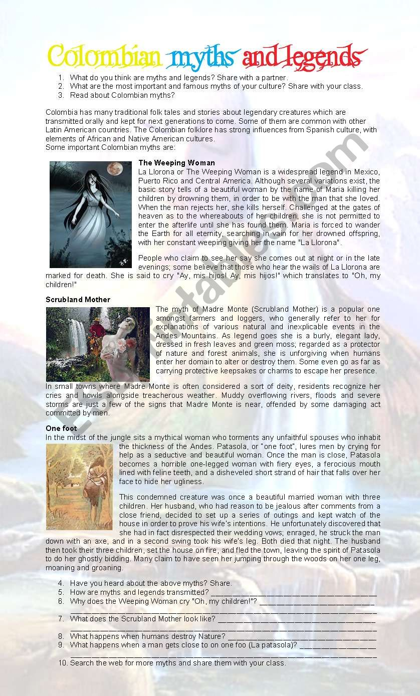 Colombian Myths And Legends Esl Worksheet By Sijorumo