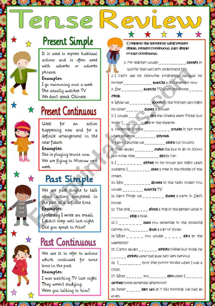 Present and Past tense review worksheet