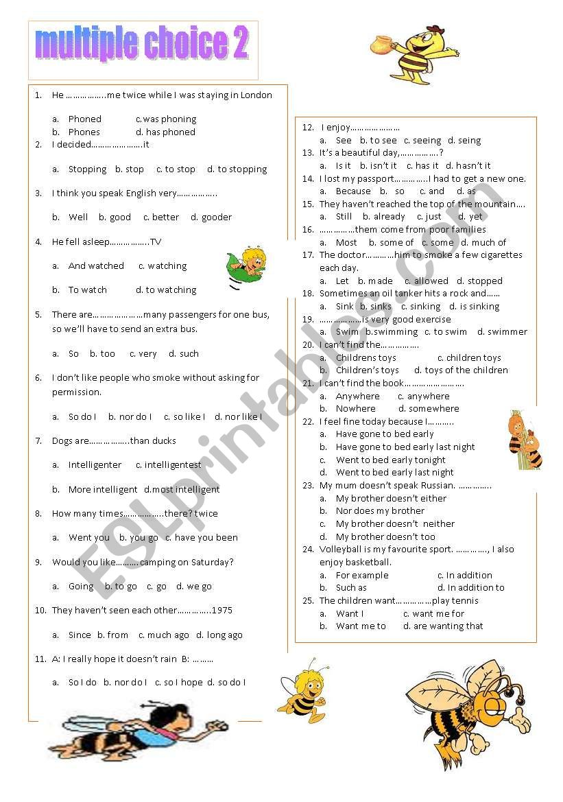 multiple choice 2 (A2) worksheet