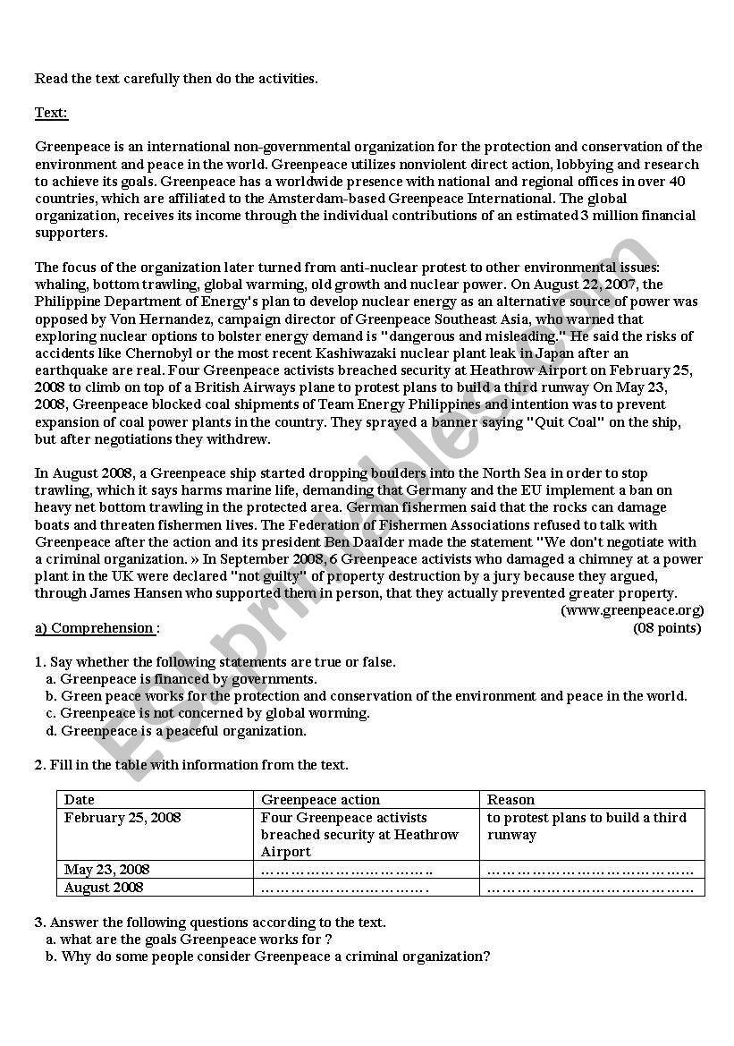 Green Peace worksheet