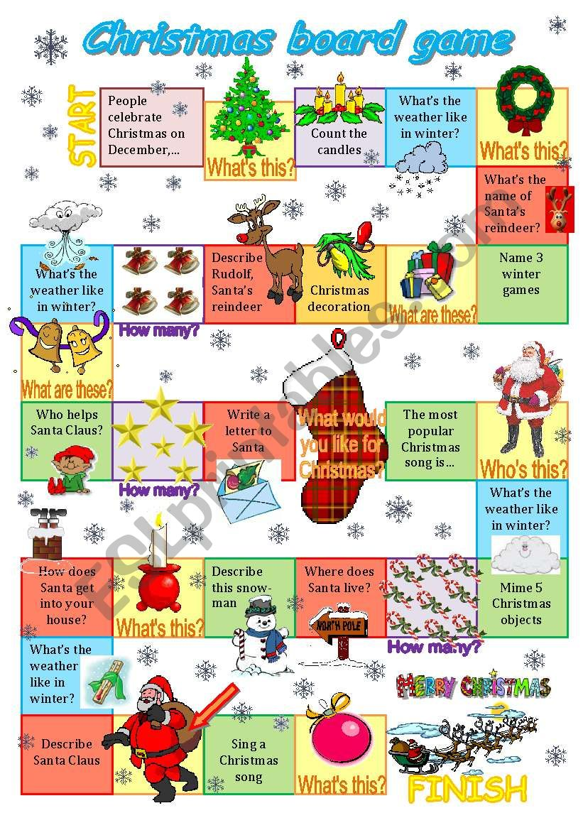 Christmas board game (2011) worksheet
